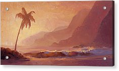 Acrylic Print featuring the painting Dreams Of Hawaii - Tropical Beach Sunset Paradise Landscape Painting by Karen Whitworth