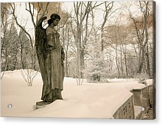 Dreamy Angel Monument Surreal Sepia Nature Acrylic Print by Kathy Fornal