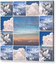 Acrylic Print featuring the photograph Dreamy Clouds Collage by Jenny Rainbow