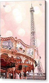Dreamy Eiffel Tower Carousel Merry Go Round - Paris Baby Girl Nursery Decor  Acrylic Print by Kathy Fornal