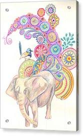 Dreamy Elephant And Bird Acrylic Print