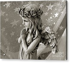 Dreamy Little Girl Angel With Praying Hands  Acrylic Print