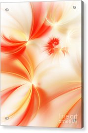 Acrylic Print featuring the digital art Dreamy Orange And Creamy Abstract by Andee Design