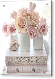 Dreamy Pastel Shabby Chic Peach And Pink White Roses - Cottage Shabby Chic Roses White Mason Jars  Acrylic Print by Kathy Fornal