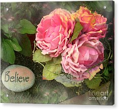 Dreamy Shabby Chic Cabbage Pink Roses Inspirational Art - Believe Acrylic Print by Kathy Fornal