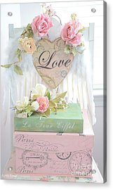 Dreamy Shabby Chic Pink Roses Heart - Paris Books Love Heart Valentine Print Acrylic Print by Kathy Fornal