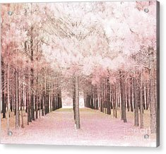 Acrylic Print featuring the photograph Dreamy Shabby Chic Pink Nature Pink Trees Woodlands - Pink Nature Nursery Prints Decor by Kathy Fornal