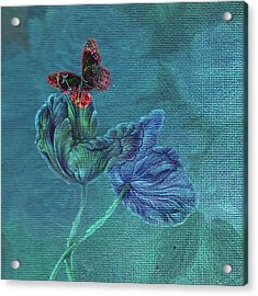 Acrylic Print featuring the painting Dreamy Tulip With Gemlike Butterfly by Judith Cheng