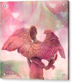 Dreamy Whimsical Pink Angel Wings With Hearts Acrylic Print by Kathy Fornal
