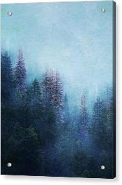 Acrylic Print featuring the digital art Dreamy Winter Forest by Klara Acel