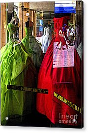 Dress Shop Passerbys Acrylic Print by Mexicolors Art Photography