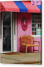 Dress Shop With Orange And Blue Awning Acrylic Print by Susan Savad