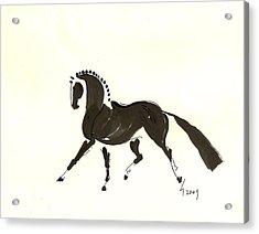 Dressage Trot Acrylic Print by Liz Pizzo