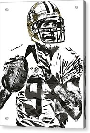 Drew Brees New Orleans Saints Pixel Art 1 Acrylic Print by Joe Hamilton