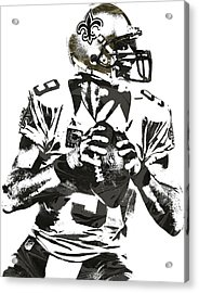 Drew Brees New Orleans Saints Pixel Art 2 Acrylic Print by Joe Hamilton