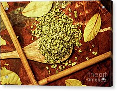 Dried Chives In Wooden Spoon Acrylic Print