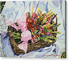 Dried Rose Basket On Lace Acrylic Print