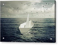 Acrylic Print featuring the photograph Drifting Paper Boat by Carlos Caetano