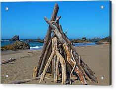 Driftwood Teepee Oregon Coast Acrylic Print