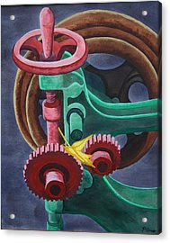 Acrylic Print featuring the painting Drill And Leaf by Paul Amaranto