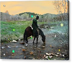 Drinking In The River Horseman Lit By Fireflies Acrylic Print