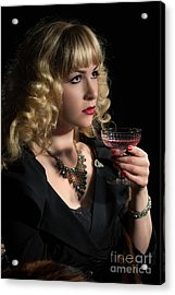 Drinking Pink Champagne Acrylic Print by Amanda Elwell