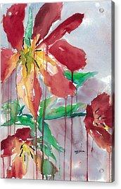 Drippy Tulips Acrylic Print by Mary Lomma