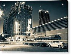 Driving Through Downtown Amarillo Texas - Sepia  Acrylic Print by Gregory Ballos