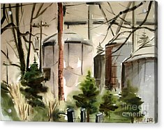 Acrylic Print featuring the painting Drizzle Mists Midst Furry Pines Plein Air by Charlie Spear