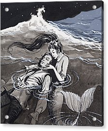 Drowned Man Being Assisted By A Mermaid Acrylic Print