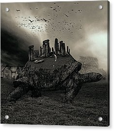 Druid Golf Black And White Acrylic Print