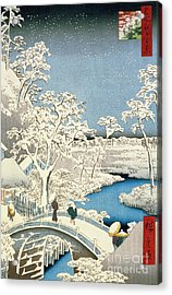 Drum Bridge And Setting Sun Hill At Meguro Acrylic Print by Hiroshige