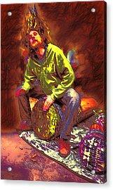 Drummer On Fire Acrylic Print by John Haldane