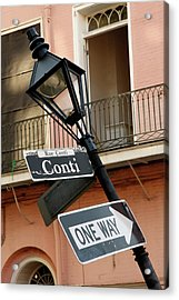 Drunk Street Sign French Quarter Acrylic Print by KG Thienemann