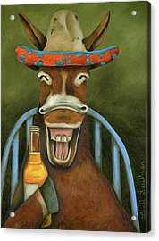 Acrylic Print featuring the painting Drunken Dumb Ass by Leah Saulnier The Painting Maniac