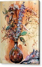 Acrylic Print featuring the painting Dry Flowers by Linda Shackelford