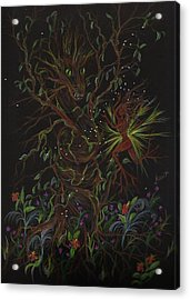 Acrylic Print featuring the drawing Dryad Brings News by Dawn Fairies