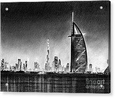 Dubai Cityscape Drawing Acrylic Print