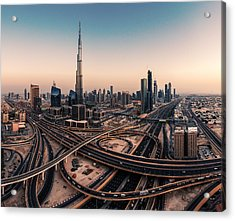 Dubai Skyline Panorama Acrylic Print by Jean Claude Castor