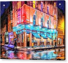 Dublin In The Rain Acrylic Print by Mark Tisdale