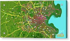 Dublin, Ireland, Green Old Traffic Abstract Map Acrylic Print