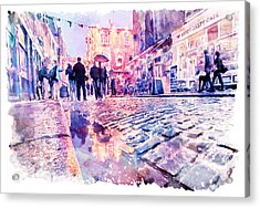 Dublin Watercolor Streetscape Acrylic Print