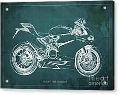Ducati Superbike 1299 Panigale 2015, Gift For Men, Green Background Acrylic Print