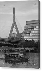 Duck Boat In Front The Lenny Zakim Bridge Boston Ma Black And White Acrylic Print by Toby McGuire