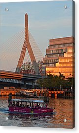 Duck Boat In Front The Lenny Zakim Bridge Boston Ma Acrylic Print by Toby McGuire