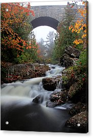 Duck Brook Bridge In The Rain Acrylic Print by Dave Sribnik