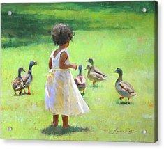 Duck Chase Acrylic Print by Anna Rose Bain