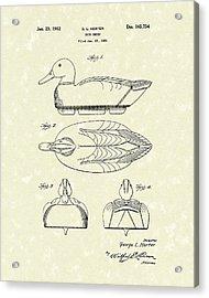 Duck Decoy 1952 Patent Art Acrylic Print by Prior Art Design