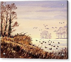 Acrylic Print featuring the painting Duck Hunting Times by Bill Holkham
