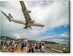 Duck... Landing Over Sunset Beach Saint Martin Caribbean Acrylic Print